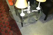 Sale 8134 - Lot 1026 - Square Bamboo Style Table with Round Glass Top