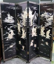 Sale 8562 - Lot 1001 - Inlaid Oriental Four Panel Dressing Screen
