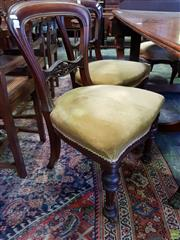 Sale 8598 - Lot 1091 - Pair of Victorian Mahogany Chairs, with balloon backs, velvet seats & turned legs