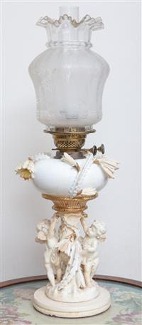 Sale 8963H - Lot 25 - A Moore Brothers porcelain kerosene lamp with typical cherubs and applied cactus, mounted on timber base and converted to electricit...