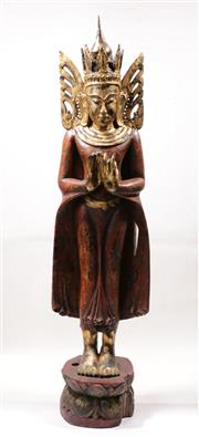 Sale 9020H - Lot 11 - Antique Burmese carved timber deity in the standing position with red pigment flared robe over a lotus form base, height 119cm