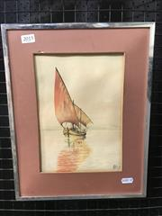 Sale 9036 - Lot 2014 - Early Watercolour of Sailboat on the Lake signed McNeill