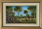 Sale 9044J - Lot 37 - Pro Hart - Picnic Meeting 28x49cm