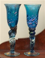 Sale 9055H - Lot 78 - A pair of Colin Heaney handmade champagne flutes in blue swirl glass. H:24cm