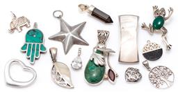 Sale 9156J - Lot 321 - 12 SILVER PENDANTS AND A FROG BROOCH; frog set with a cabochon chrysoprase and marcasites, length 32mm, 2 set with mother of pearl l...