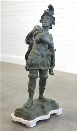 Sale 9196 - Lot 1005 - Large French Bronze Figure of a Swiss Guard, in dramatic pose and drawing his sword, raised on a white shaped stone base (h:112cm)