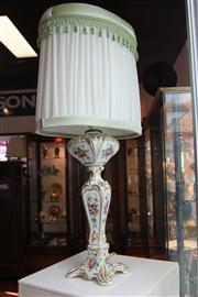 Sale 7977 - Lot 42 - French Porcelain Hand Painted and Gilded Lamp (restoration, cracked)