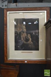 Sale 8282 - Lot 1082 - Victorian Lithograph The Blind Beggar in Oak Frame