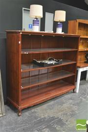 Sale 8404 - Lot 1008 - Carved Timber Open Bookcase with Three Glass Insert Shelves & Fitted Down Lights on Cabriole Legs