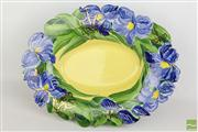 Sale 8477 - Lot 31 - Blue and Yellow Platter with Stand By Linda Gold