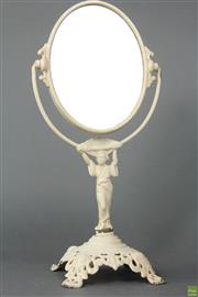 Sale 8594 - Lot 32 - American Cast Iron Figural Lady Mirror Marked Golden Mfg. Co