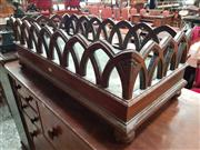 Sale 8868 - Lot 1053 - Victorian Mahogany Kindling Box, with arcaded gallery, metal tray & bun feet