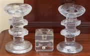 Sale 9055H - Lot 79 - A pair of Scandinavian glass candlesticks by Iittala, together with a Juhava single example. H:13cm.