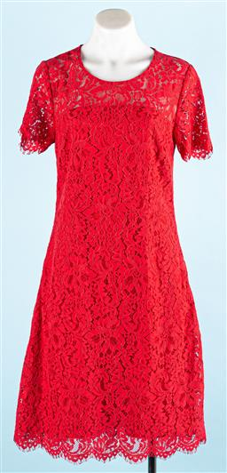 Sale 9091F - Lot 2 - A LAURA ASHLEY DRESS in red with floral design, size 8