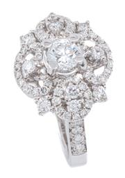 Sale 9083 - Lot 459 - AN 18CT WHITE GOLD DIAMOND DRESS RING, centring an approx. 0.36ct round brilliant cut diamond to a pierced surround and shoulders fu...