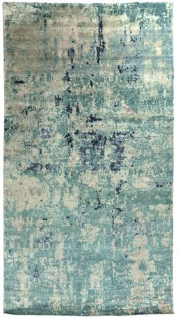 Sale 9140W - Lot 26 - A large Designer Rugs Icarus hand knitted Tibetan weave carpet in green tones 243cm x 448cm RRP $6,890