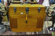 Sale 8328 - Lot 1042 - Timber Jewellery Case with Key