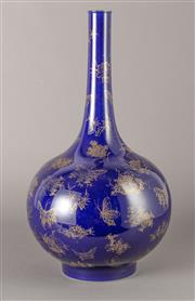 Sale 8536 - Lot 29 - Rare Chinese dark blue vase, decorated with gilded butterflies and flowers, Chien-lung marks to base, H43cm