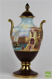 Sale 8512 - Lot 31 - Caverswall Hand Painted Twin Handle Lidded Vase Venetian Harbour Scene Signed to Base R.A Shuflebottom No 2 of 50