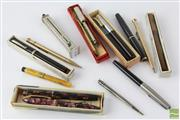 Sale 8540 - Lot 130 - Good Collection of Vintage Pens incl Mentmore with boxes, Sterling Silver, Wyvern, Waterman, Sheaffer, Gold Filled, Ivory & a Wax Ho...