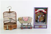 Sale 8931B - Lot 686 - Musical Acrobat Box Together With Birdcage And Carved Sheep