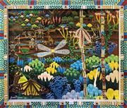 Sale 8998 - Lot 2014 - James P Simpson Ceremonial Dancers and Wildflowers 2007 acrylic on board 62.5 x 74cm (frame)