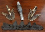 Sale 9055H - Lot 80 - A group of ornithological bird wall hooks, including ducks and swans in various metal.