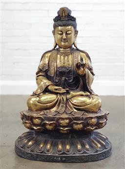 Sale 9179 - Lot 1081 - Large Brass Figure of Buddha Seated, partly patinated, in mudra & raised on his lotus throne (h:100 x dia:70cm)