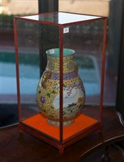 Sale 7984 - Lot 88 - An Oriental glass display case, height 53cm, 27cm square base