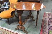 Sale 8291 - Lot 1030 - Victorian Style Burr Walnut Sutherland Table, on turned supports and stretcher