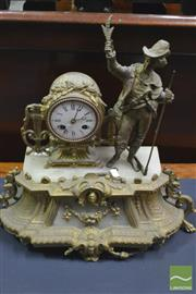 Sale 8345 - Lot 1034 - 19th Century French Gilt Metal & Alabaster Mantle Clock, by  Henry Marc, surmounted by a figure of a farmer in traditional costume (...