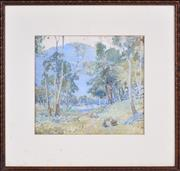Sale 8382 - Lot 585 - Charles Tindall (1863 - 1951) - On the Nattai Creek, Burragorang, 1927 27 x 30cm