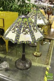 Sale 8499 - Lot 1026 - Pair of Leadlight Shade Table Lamps