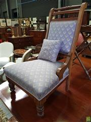 Sale 8601 - Lot 1053 - Edwardian Possibly Coachwood Ladys Chair, with spindle gallery & upholstered in a blue cube patterned fabric