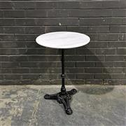 Sale 8975K - Lot 21 - Patio Table with White Marble Top above Cast Iron Base - 50cm diameter