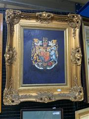 Sale 9008 - Lot 2025 - Artist Unknown - Coat of Arms of United Kingdom, oil on canvas 81 x 52 cm