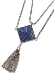 Sale 9046 - Lot 519 - A MANIA MANIA HEAVY SILVER & LAPIS NECKLACE; 5 x 5cm lapis pyramid suspending chain tassel to twin foxtail link chains and signed ho...