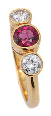 Sale 9083 - Lot 363 - AN 18CT GOLD RUBY AND DIAMOND RING; rub set with an approx. 0.62ct fine round cut ruby adjacent to 2 round brilliant cut diamonds to...