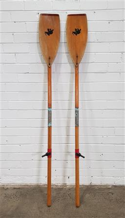 Sale 9151 - Lot 1458 - Pair of vintage timber oars (w167cm)