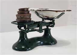 Sale 9218 - Lot 1054 - Set of Cast Iron Shop Scales, painted green, with white enamel bowl & set of graduated brass weights (h:20 x w:30cm)