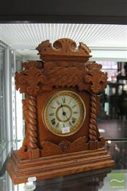 Sale 8256 - Lot 61 - Ansonia Timber Mantle Clock