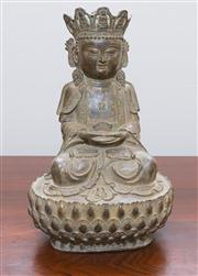 Sale 8308A - Lot 74 - A Chinese bronze sitting Guanyin, incised marks on the back, H 30cm