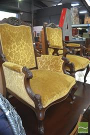Sale 8331 - Lot 1348 - Pair of Victorian Armchairs in Gold Floral Velvet Upholstery