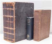 Sale 8550H - Lot 123 - A group of three antique hardcover books including an Oxford dictionary, a Websters biographical dictionary and a large Websters I...