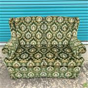 Sale 8649R - Lot 140 - Green Fabric Upholstered Button Backed Settee with Gilt Floral Decoration (H: 93 W: 190 D: 70cm)