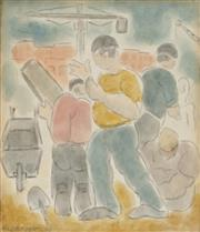 Sale 8858 - Lot 582 - Horace Brodzky (1885 - 1969) - The Builders, 1966 18 x 16 cm