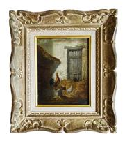 Sale 8891H - Lot 46 - CHARLES JACQUE (1813 - 1894) French - Chickens in a Barn 24.0 x 19.0cm
