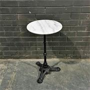 Sale 8975K - Lot 89 - Patio Table with White Marble Top above Cast Iron Base - 40cm diameter
