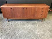 Sale 9056 - Lot 1005 - Vintage Parker Sideboard with Cats Eye Handles (h:73 x w:183 x d:35cm)