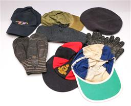 Sale 9104 - Lot 80 - A Pair Of WWII Huck gloves Together With Other Military Related Caps And Hats